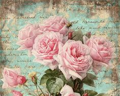 rosas postal celeste turquesa Shabby Roses Pink Greeting Cards - Digital Collage Sheet best for paper craft, jewelry holders, digital backgrounds - SHABBY ROSES FOREVER Decoupage Vintage, Vintage Diy, Vintage Labels, Vintage Ephemera, Vintage Cards, Vintage Paper, Vintage Images, Vintage Style, Vintage Rosen