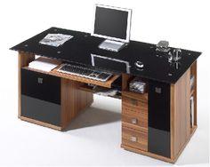 MICRO DESK Computertisch/Schreibtisch mit schwarzer Glasplatte