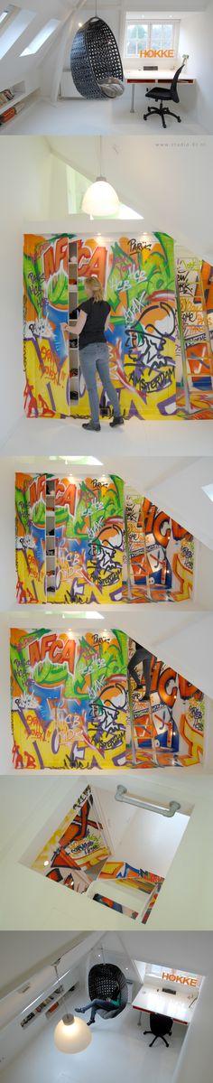 "studio-Ei --  zolder3  Interieurontwerp & meubelontwerpen zolderkamer met thema ""graffiti""  |  Design: www.studio-ei.nl"