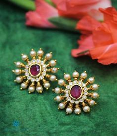 The Gajra Silver Ear-studs (Red/Pearl) Jewelry Design Earrings, Gold Earrings Designs, Gold Jewellery Design, Silver Jewellery, Pearl Jewelry, Indian Jewelry, Simple Necklace Designs, Silver Earrings Online, Gold Chain Design