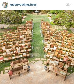 Love this garden ceremony setting!  @greenweddingshoes