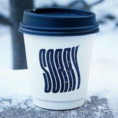 """""""Sorry Coffee Company, Toronto. Little snow day apology. Submission @lilwillsharp  #coffeecup"""""""