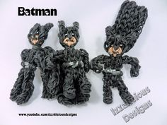 Rainbow Loom BATMAN (one loom). Designed and loomed by Kate Schultz of Izzalicious Designs. Click photo for YouTube tutorial. 03/07/14