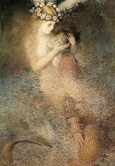 The little Mermaid.Art by Gennady Spirin. Illustrations, Illustration Art, Sea Siren, Mermaids And Mermen, Pre Raphaelite, Merfolk, Mermaid Art, Vintage Mermaid, Art Plastique
