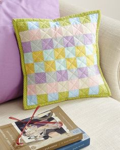 Gather a rainbow of cute pastel polka dots for a checkerboard-look pillow.