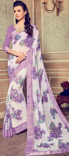 744466 White and Off White color family Printed Sarees in Faux Georgette fabric with Floral, Printed work with matching unstitched blouse.