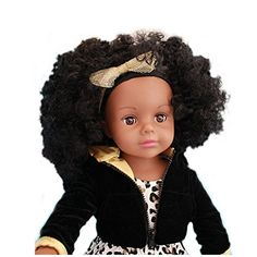 African American Fashion Girl Doll Toy for Girls Birthday Gift 18 African American Doll with Brown Eyes that Blinks Alexander Doll American Girl Doll with Kinky Curly Hair ** Be sure to check out this awesome product.
