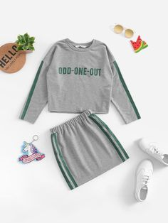 To find out about the Girls Letter Front Striped Side Top & Skirt Set at SHEIN, part of our latest Girls Two-piece Outfits ready to shop online today! Girl Outfits, Cute Outfits, Fashion Outfits, Stylish Outfits, Camouflage Hoodie, Two Piece Outfit, Girls Shopping, Kids Girls, Sleeve Styles