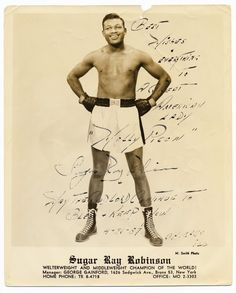 Autographed picture of Boxer Sugar Ray Robinson signed for Molly Picon, 1957.