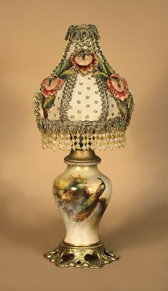 Antique English Porcelain Table Lamp Depicts Fully Detailed Peacock And  Holds A U0027SHEIKu0027 Shaped