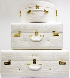 Love this collection. Vintage, white and gold hardware