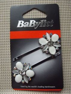 BaByliss set of 2 hair clips/hair accessory BNWT white gold colour metal flowers