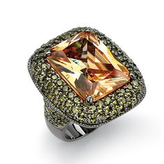 29.62 TCW Cushion-Cut Champagne-Colored Cubic Zirconia Black Rhodium-Plated Ring at PalmBeach