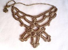 Collar original Gargantilla crochet oro Joyería por DIDIcrochet