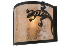 11 Inch W Gecko Wall Sconce - 11 Inch W Gecko Wall SconceA Southwest Gecko accents this nature inspired wall sconce. The fixture is finished in Black, has Silver mica panels, and is handcrafted in the USA by Meyda artisans. Theme: RUSTIC LODGE ANIMALS Product Family: Gecko Product Type: WALL SCONCES Product Application: ONE LIGHT Color: BLACK/SILVER MICA Bulb Type: MED Bulb Quantity: 1 Bulb Wattage: 60 Product Dimensions: 9.25H x 11W x 4.5DPackage Dimensions: NABoxed Weight: 2 lbsDim Weight…