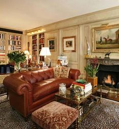 Cozy living room with a bustling NYC outside.