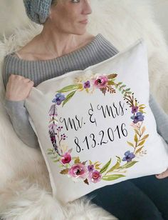 Mr&Mrs Wedding Date Floral Pillow by 42ndStDesigns on Etsy