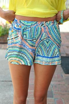Colors of the Kaleidoscope Shorts- $32.50 Rush Week, Casual Skirts, Khaki Shorts, Colored Jeans, Comfortable Shoes, Patterned Shorts, Sewing Ideas, Cloths, What To Wear