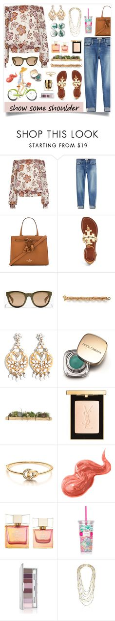 """""""Untitled #946"""" by liska1986 ❤ liked on Polyvore featuring Tory Burch, Frame, Kate Spade, J.Crew, Lilly Pulitzer, Dolce&Gabbana, Jayson Home, Yves Saint Laurent, Bobbi Brown Cosmetics and Clinique"""