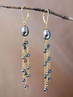 beads and chain earrings by wilma