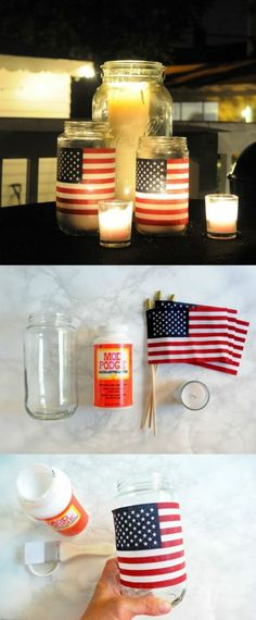This American flag DIY lantern is so easy and cheap to do! I love it! Patriotic Decorations, Patriotic Party, Patriotic Crafts, Military Decorations, Americana Crafts, 4th Of July Ideas, Fourth Of July Crafts For Kids, 4th July Crafts, Fourth Of July Decor