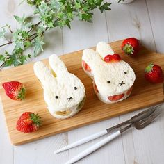 Miffy fruit sandwiches by - Food&Drink - Sandwich Japanese Food Art, Japanese Sweets, Bento, Easter Deserts, Fruit Sandwich, Kawaii Dessert, Good Food, Yummy Food, Delicious Deserts