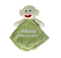Sock Monkey Snuggle Buddy Comfort Security Bear Security Blanket Crib toy in Green - Personalized by CACBaskets on Etsy