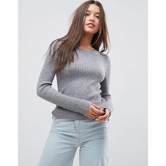 ASOS Jumper With Crew Neck In Rib (525 MXN) ❤ liked on Polyvore featuring tops, sweaters, long sleeve jumper, party jumpers, crew sweater, long sleeve sweater and asos sweater