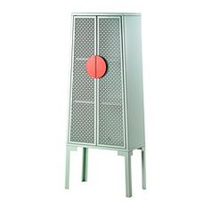 TRENDIG 2013 Cabinet - IKEA; $230, lt green, all metal.  I need to get some of this cool metal grating....