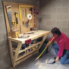 This simple wood work bench is perfect for a garage or utility room, and it takes up almost no floor space! : This simple wood work bench is perfect for a garage or utility room, and it takes up almost no floor space! Building A Workbench, Folding Workbench, Diy Workbench, Workbench Designs, Simple Workbench Plans, Small Workbench, Industrial Workbench, Woodworking Shop, Woodworking Plans