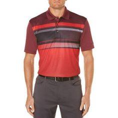 Ben Hogan Men's Bigs Performance Short Sleeve Fading Chest Stripe Golf Polo, Red