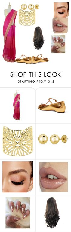 """pink sari"" by suckerforpain on Polyvore featuring NOVICA, Gucci, Vélizance, BERRICLE and Avon"