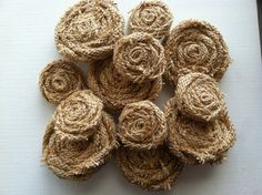 One Dozen Burlap Flowers in Tan (Natural)