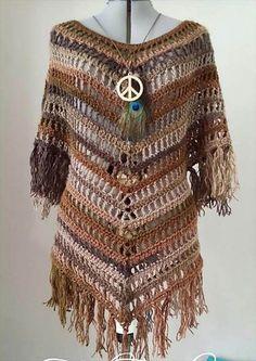Crochet poncho patterns, Boho Tuniek
