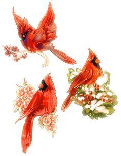 Cardinal Bird Drawings | 2010 cardinal christmas tags by vslynx digital art drawings paintings