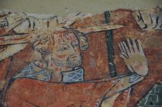 South Newington St Peter Ad Vincula church wall paintings on north wall martyrdom of St Thomas a Becket c1330 -18-26