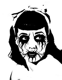 Corpsepaint Bettie Art Print by carlovargas Traditional Black Tattoo, Metal Drawing, Dark Art Photography, Punk Poster, Makeup Drawing, Eyes Artwork, Old School Tattoo Designs, Stencil Art, Dark Fantasy Art