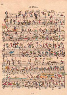 ♮ ♬ ♩ ♭ illustrated sheet music ♮ ♬ ♩ ♭