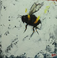 Bee painting 271 12x12 inch insect animal portrait original oil painting by Roz