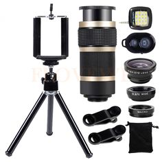 10in1 Phone Lens Kit Wide Angle Macro Fish eye Lenses Selfie lamp Tripod For iPhone 7 Xiaomi Smartphone 8X Zoom Telephoto Lentes