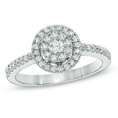 Superb Diamond Cluster Frame Ring in White Gold Zales What jewelry store tries me to get don ut want