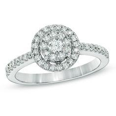 1/2 CT. T.W. Diamond Cluster Frame Ring in 10K White Gold