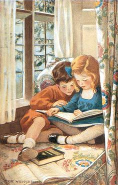 Jessie Willcox Smith American illustrator / children reading in a window seat, illustration - at the British Library Childrens Book Shelves, Childrens Wall Art, Reading Art, Kids Reading, Reading Buddies, Reading Books, Lovers Art, Book Lovers, Jessie Willcox Smith
