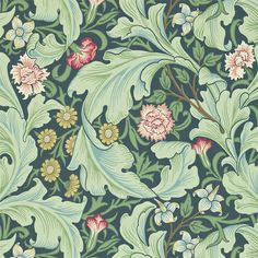 The Original Morris & Co - Leicester was designed as a block printed wallpaper by John Henry Dearle in 1912. Inspired by Morris earlier design Bachelors Button of 1892 Leicester evokes the romance of the mediaeval past that so inspired Morris.