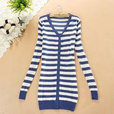 $10.99 Korean Style Striped Women Cardigan Sweater at Online Apparel Store Gofavor