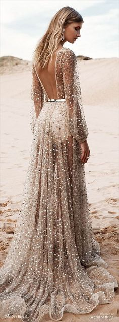 Stunning Open back Beach wedding dresses with shining beads