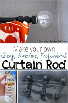DIY CURTAIN ROD - how to make your own curtian rod using electrical conduit and curtain rod brackets from the hardware store. Save a lot of money!