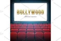 Bollywood cinema, indian movie.  Custom-Designed Illustrations