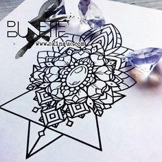 Mandala flower geometric linework sternum tattoo idea inspiration bunette skinque
