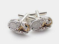 Steampunk Cufflinks Vintage Hamilton watch movements wedding anniversary Grooms Gift silver cuff links men jewelry Steampunk Nation 1714